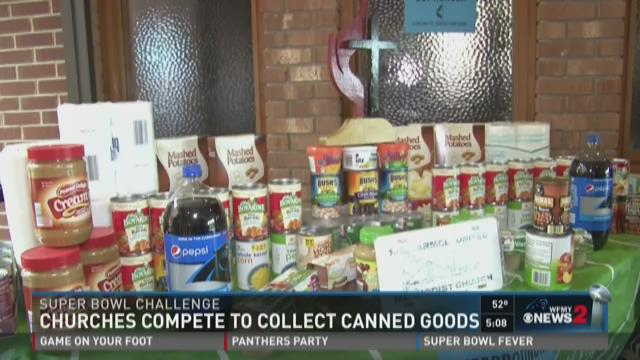 A church in Winston-Salem and a church in Denver have challenged each other to a Super Bowl canned food drive contest.