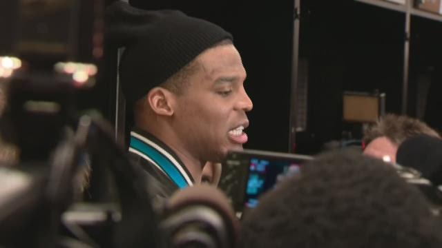 Cam Newton At Press Conference After Super Bowl Press Conference