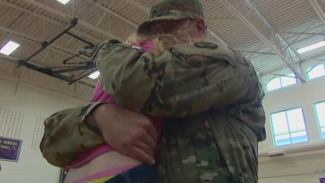 NC Soldier Surprises Twins At School
