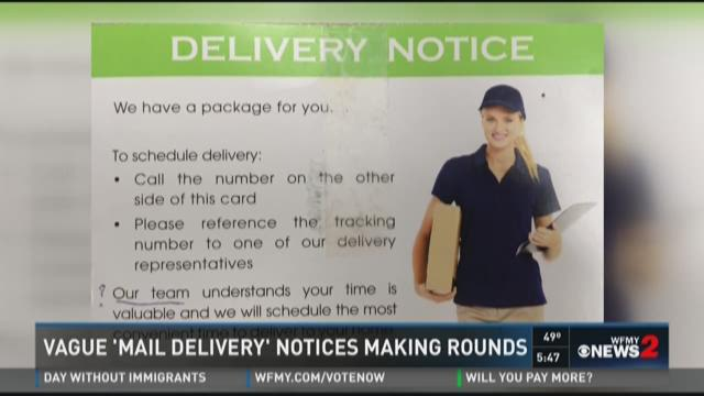 Watch Out For This Mail Delivery Card Wfmynews2 Com