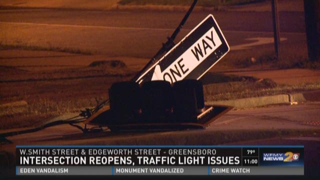 Two-car accident in downtown Greensboro.