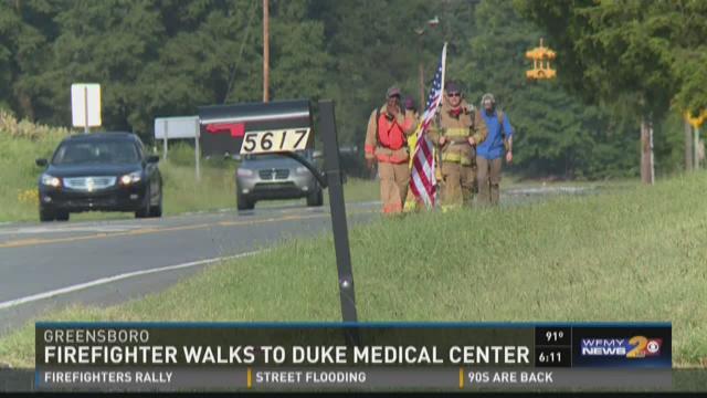 Firefighter Walks To Duke Medical Center